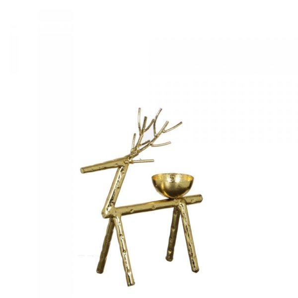 Bougeoir design renne en métal doré