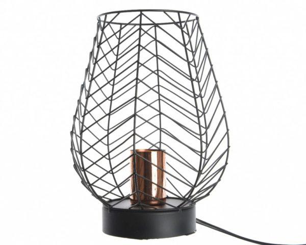 Lampe en métal noir et cuivre