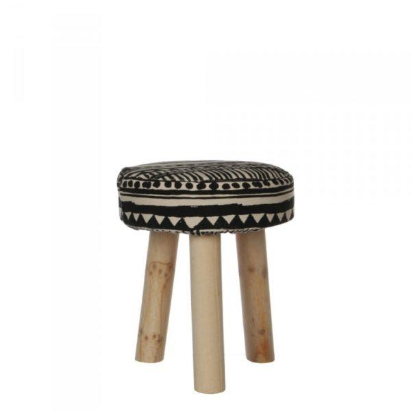 Tabouret en tissu graphique et pieds en bois brut
