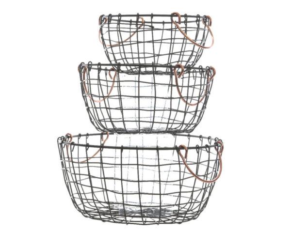 set de trois paniers métal
