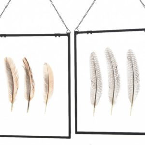 Cadre en verre décor plumes