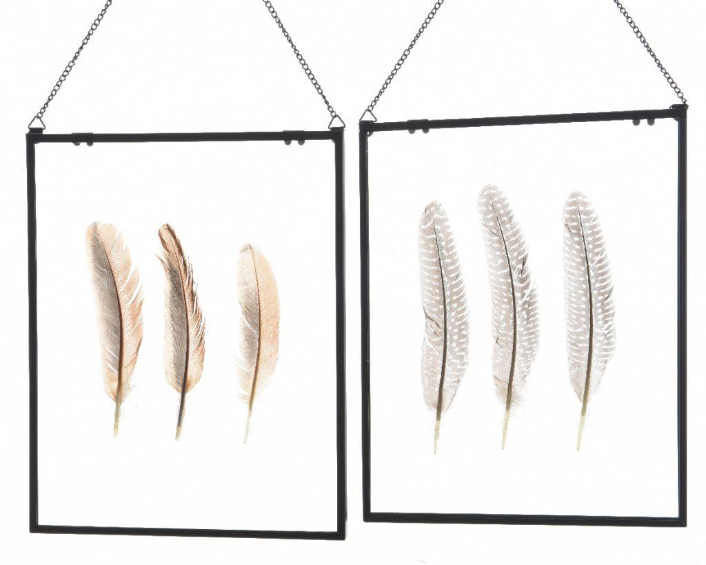 cadre en verre lot de 2 cadres en verre m tal et plumes d coratives. Black Bedroom Furniture Sets. Home Design Ideas