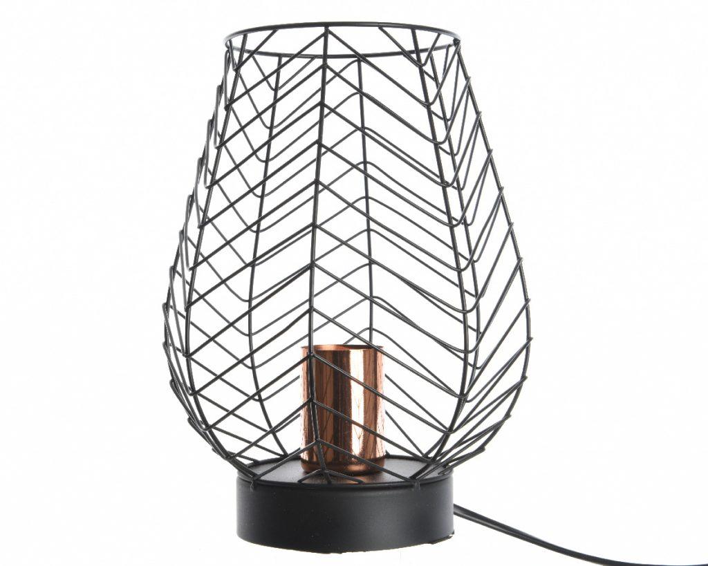 lampe lampe en m tal noire et cuivre forme tulipe. Black Bedroom Furniture Sets. Home Design Ideas