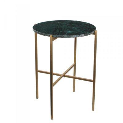 Table basse design en marbre et pieds métal or